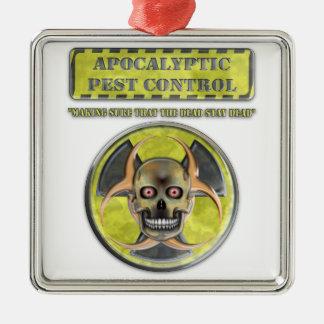 Apocalyptic Pest Control Silver-Colored Square Decoration