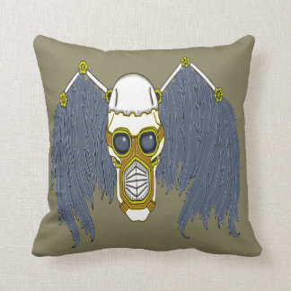 Apocalyptic Steampunk Dark Angel Skull Throw Pillow