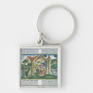 Apocrypha: Tobit is blinded by sparrow's droppings Silver-Colored Square Key Ring