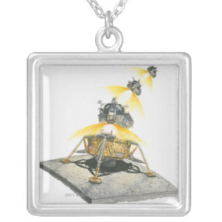 Apollo 11 Eagle module taking off from the Moon Silver Plated Necklace