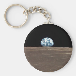 APOLLO 11 EARTHRISE (earth moon solar system) ~ Basic Round Button Key Ring
