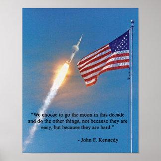 Apollo 11 Launch JFK Quote Poster
