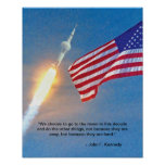 Apollo 11 launch with American Flag Poster