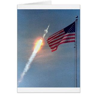 Apollo 11 launch, with flag, NASA Greeting Card