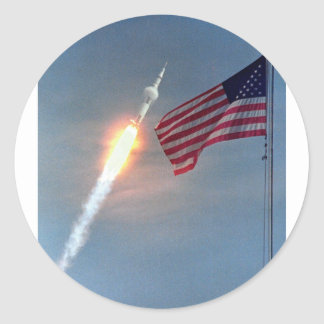 Apollo 11 launch, with flag, NASA Classic Round Sticker