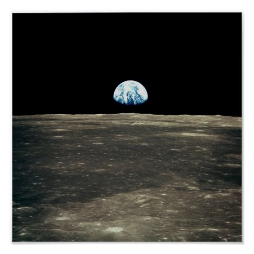 Apollo 11 Photo of Earth Rising Above the Moon Posters