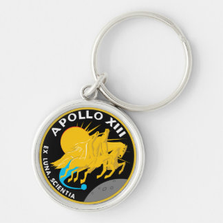 Apollo 13 NASA Mission Patch Logo Silver-Colored Round Key Ring