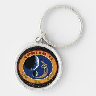 Apollo 14 NASA Mission Patch Logo Silver-Colored Round Key Ring