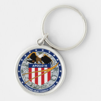 Apollo 16 NASA Mission Patch Logo Silver-Colored Round Key Ring