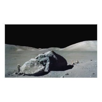 Apollo 17 Astronaut and Vehicle on the Moon Photograph