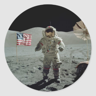 Apollo 17 Astronaut in the Taurus Littrow Valley Classic Round Sticker