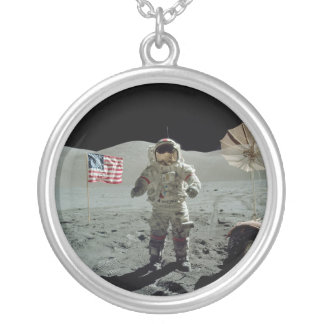 Apollo 17 Astronaut in the Taurus Littrow Valley Round Pendant Necklace