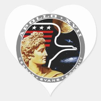 Apollo 17: The Final Hurrah! Heart Stickers