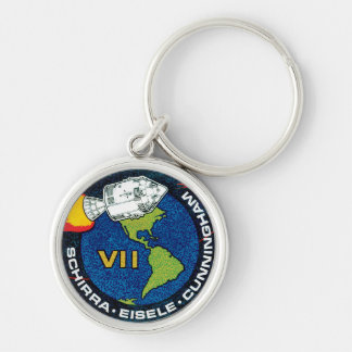 Apollo 7 NASA Mission Patch Logo Silver-Colored Round Key Ring