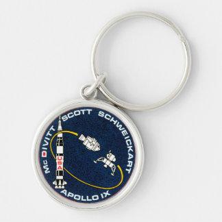 Apollo 9 NASA Mission Patch Logo Silver-Colored Round Key Ring