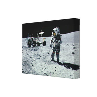 Apollo Astronaut walking on the Moon and crater Stretched Canvas Prints