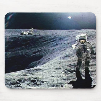 Apollo Astronaut walking on the Moon and crater Mouse Mat