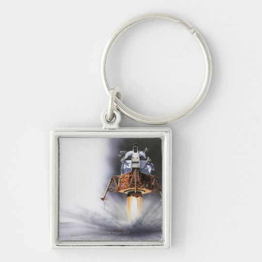 Apollo Eagle Lunar Module Silver-Colored Square Key Ring