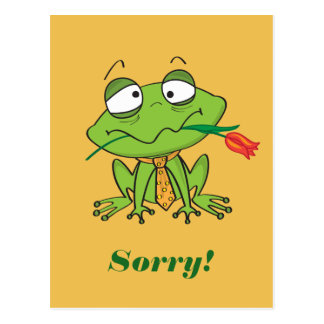 Apologizing frog postcard