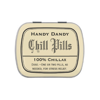 Apothecary Vintage Druggist Label Chill Pill Funny Candy Tin