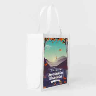 Appalachian Mountains vintage travel poster Reusable Grocery Bag
