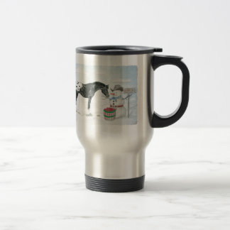 Appaloosa horse with snowman, rectangular travel mug