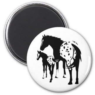 Appaloosa Mare and Foal 6 Cm Round Magnet