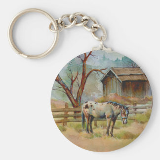 APPALOOSA & OLD BARN  by SHARON SHARPE Basic Round Button Key Ring