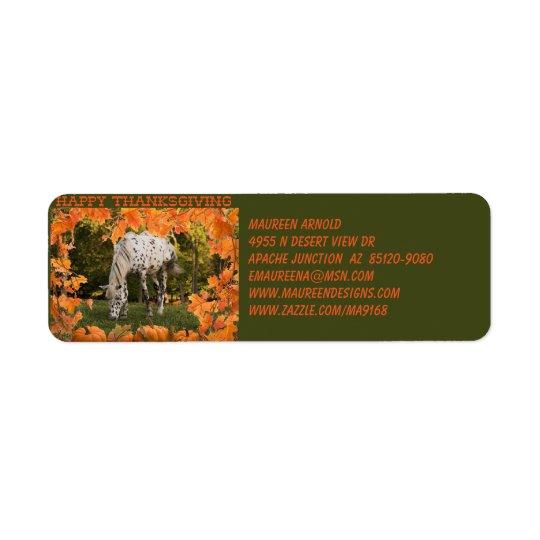Appaloosa Thanksgiving Return Address Label