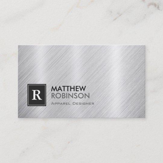 Apparel designer brushed metal monogram business card zazzle apparel designer brushed metal monogram business card reheart Image collections