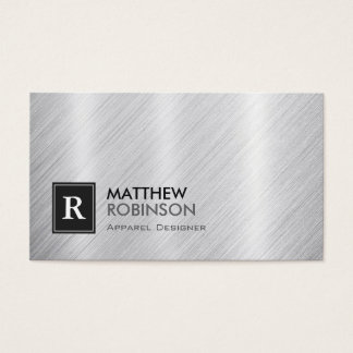 Apparel Designer - Brushed Metal Monogram Business Card
