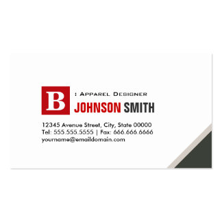 Apparel Designer - Simple Chic Red Pack Of Standard Business Cards