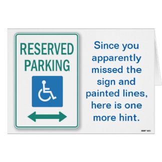 Apparently You Missed the Handicapped Parking Sign Card