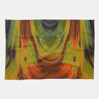Apparition 3 in Orange and Green Hot Abstract Tea Towel