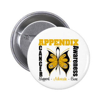 Appendix Awareness Butterfly 6 Cm Round Badge