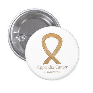 Appendix Cancer Amber Awareness Ribbon Button Pin