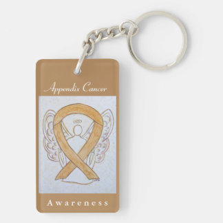 Appendix Cancer Awareness Amber Ribbon Keychain