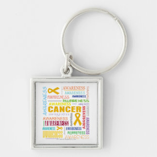 Appendix Cancer Awareness Collage Silver-Colored Square Key Ring