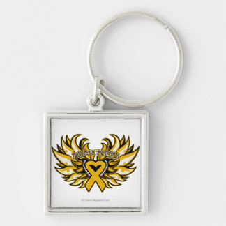 Appendix Cancer Awareness Heart Wings.png Silver-Colored Square Key Ring