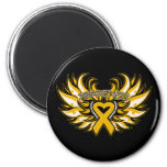 Appendix Cancer Awareness Heart Wings.png Refrigerator Magnet