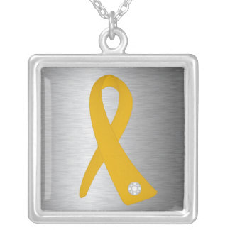 Appendix Cancer Awareness Ribbon Square Pendant Necklace