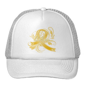 Appendix Cancer Believe Flourish Ribbon Trucker Hat