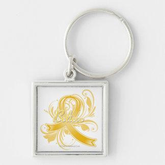Appendix Cancer Believe Flourish Ribbon Silver-Colored Square Key Ring