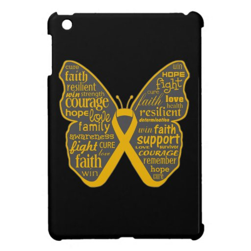 Appendix Cancer Butterfly Collage of Words iPad Mini Covers