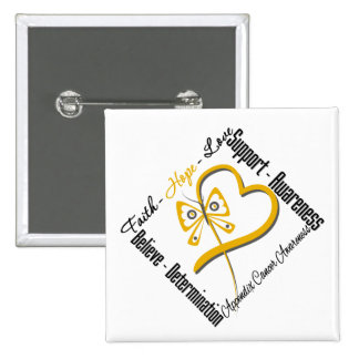 Appendix Cancer Faith Hope Love Butterfly 15 Cm Square Badge