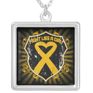 Appendix Cancer Fight Like A Girl Armour Square Pendant Necklace