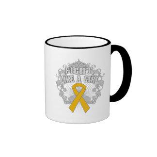 Appendix Cancer Fight Like A Girl Fleurish Ringer Mug