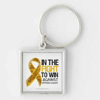 Appendix Cancer - Fight To Win Silver-Colored Square Key Ring