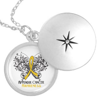 Appendix Cancer Flourish Butterfly Ribbon Round Locket Necklace