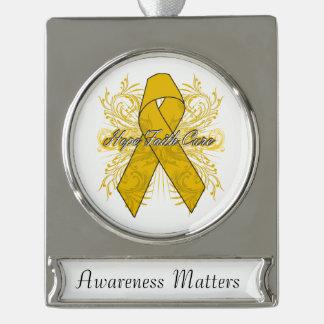 Appendix Cancer Flourish Hope Faith Cure Silver Plated Banner Ornament